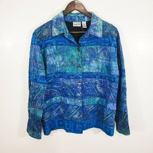 Chico's Silk Beaded Button Up Top